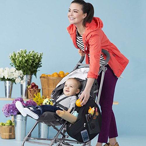 Skip Hop Grab and Go Attachable and Insulated Side Sling Stroller Saddle Bag and Organizer, 2 Pockets, Black by Skip Hop (Image #7)