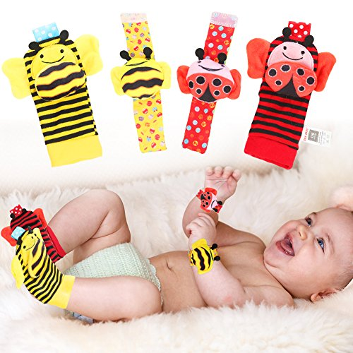 ThinkMax Baby Wrist Rattles & Foot Finder Socks Set, 4PCS Developmental Soft Cotton Animal Toys for Infant and Toddler- Bee and Ladybug