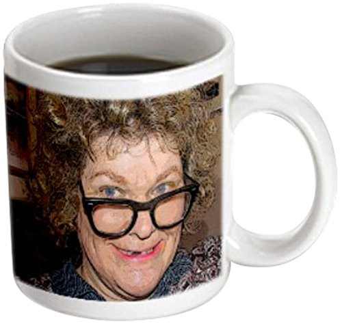 3dRose mug_52578_3 A Curly Haired Toothless Costume on a Woman for Halloween with Big Nerdy Black Glasses Magic Transforming Mug,