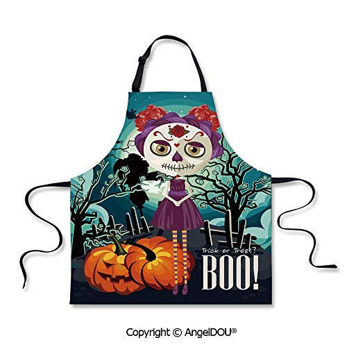 (SCOXIXI Adult Kitchen Dinner Party Cooking Apron Cartoon Girl with Sugar Skull Makeup Retro Seasonal Artwork Swirled Trees Boo Decorative for Cooking Baking)