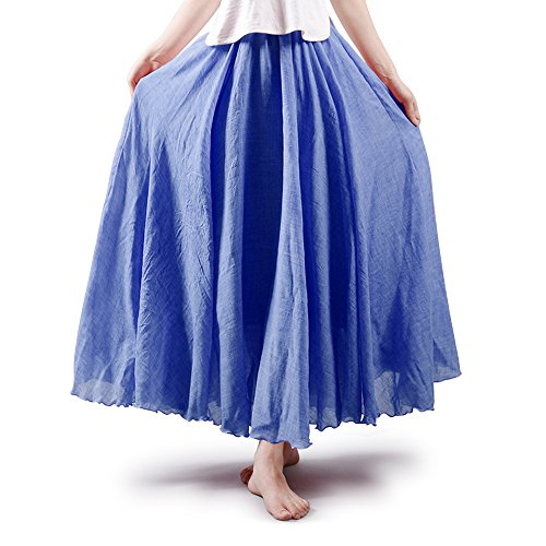 OCHENTA Women's Elastic Waist Flowing Bohemian Cotton Long Maxi Skirt Denim Blue 95CM - Denim Crinkle