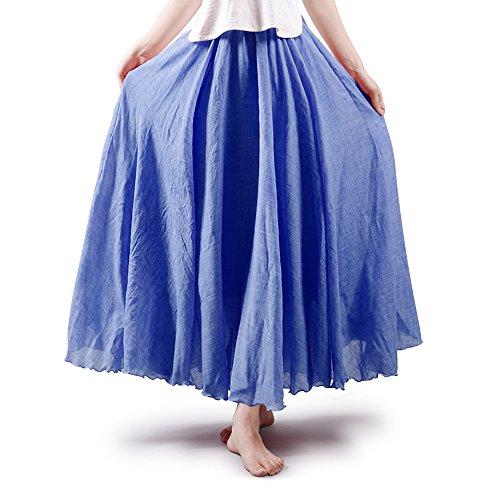 Women's Full Circle Elastic Waist Band Cotton Long Maxi Skirt Dress Denim Blue 85CM Length