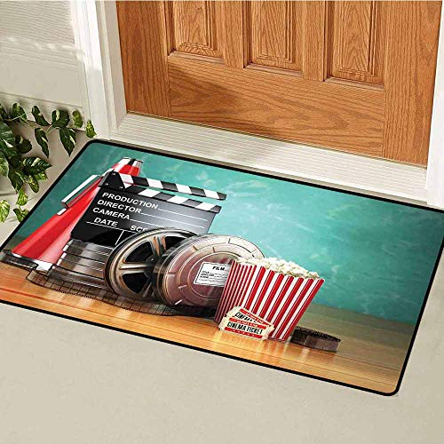 GloriaJohnson Movie Theater Front Door mat Carpet Production Theme 3D Film Reels Clapperboard Tickets Popcorn and Megaphone Machine Washable Door mat W15.7 x L23.6 Inch ()
