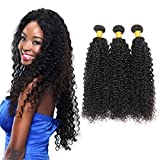 Brazilian Afro Kinkys Curly Hair 3 Bundles Unprocessed Brazilian Kinky Curly Hair Extensions Mixed Length with Natural Color Brazilian Hair Bundles (12 14 16)