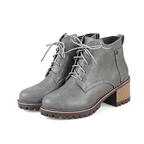 AN A&N Womens Boots Closed-Toe Lace-Up Adjustable-Strap Kitten-Heel Warm Lining Waterproof Smooth Leather Cushioning Bootie Urethane Boots DKU01810 Gray CxnP5