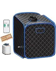 Giantex Portable Steam Sauna Spa 2L Folding Private Sauna Tent W/Chair Foot, Massage Roller, Absorbent Pad,9 Adjustable Temperature Levels for Weight Loss, Detox, Stress Fatigue 33 x 33x 42(Black)