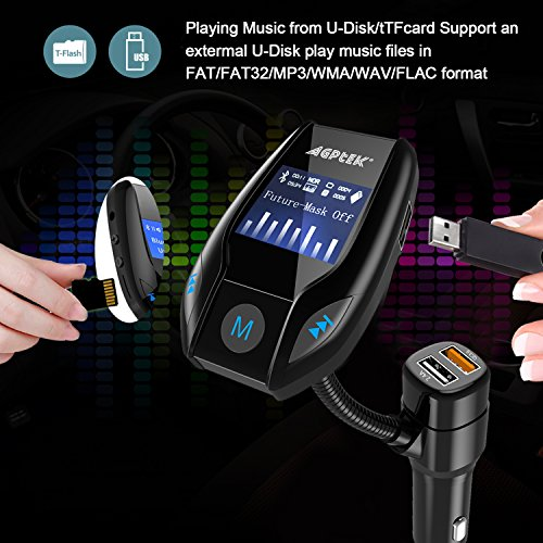 Bluetooth FM Transmitter for Car with Quick Charge 3.0 Wireless In-Car Radio Transmitter Adapter Support AUX Input/TF Card/USB Flash Drive/Hands-Free Calling by MYPIN (Image #4)