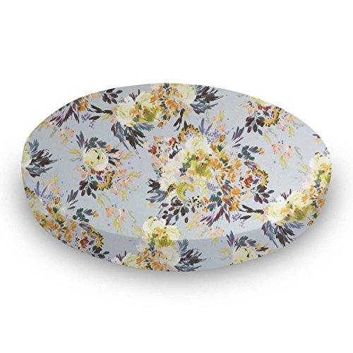- SheetWorld 100% Cotton Percale Round Crib Sheet, Modern Floral Garden Gray, 42 x 42, Made in USA