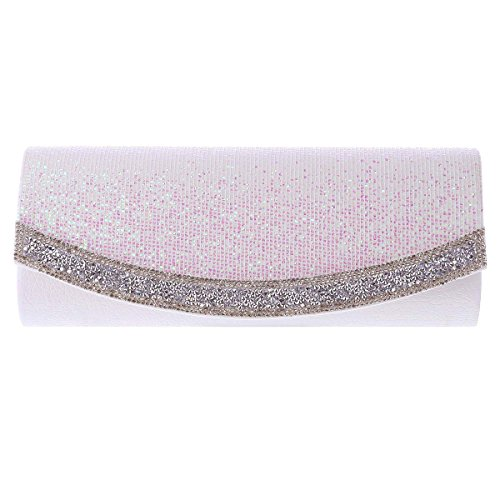 Texture Flap Evening Long Clutch Damara Womens White Sequins qSwIE