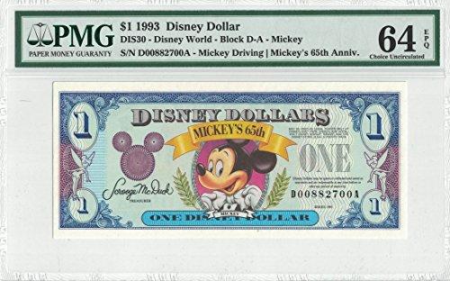 Disney Dollar 1993 $1 Mickey's 65th D00882700A PMG 64 EPQ Choice Unc