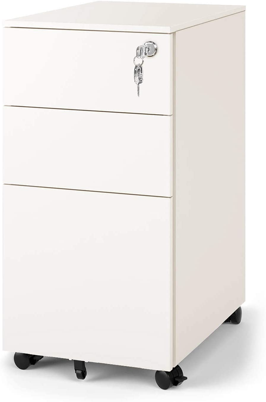 DEVAISE 3 Drawer Vertical File Cabinet, Mobile Filing Cabinet with Interlock System for Home Office, White