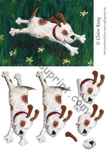 Step by Step decoupage Sheet by Claire Keay Run Dog