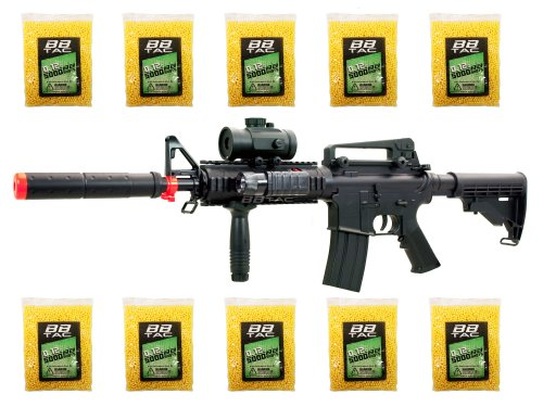 BBTac BT-M83 LPEG Full Auto Electric Power 250 FPS AEG Airsoft Gun with 50,000 .12g BBs 6mm Package