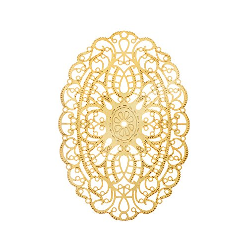 16KT Gold Plated Filigree Stamping Lacy Oval 30x45mm (1)