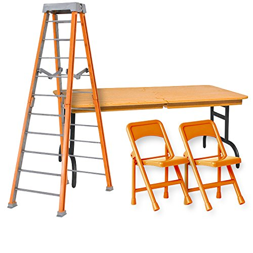 Ultimate Ladder, Table and Chairs Orange Playset for WWE Wrestling Action Figures (Wwe Table Ladders And Chairs)