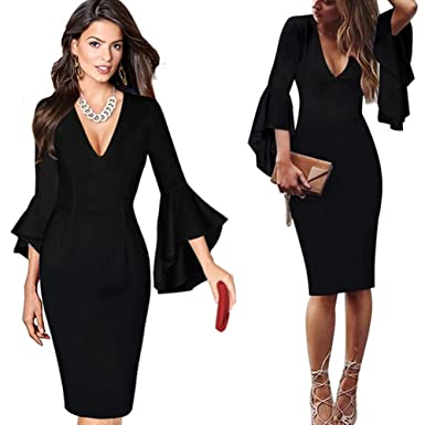 eec5342724ba8 Image Unavailable. Image not available for. Color: Kaitobe Womens Sexy Deep  V-Neck Flare Long Sleeve Bodycon Midi Dress ...