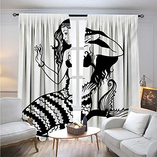 BlountDecor UnderwaterBlackout DrapesMermaid Mythological Young Girl with Fish Tail Monochrome Classic Style ArtCover The Sun W96 x L84 Black White