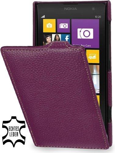 StilGut, UltraSlim, funda de cuero genuino para Nokia Lumia 1020, negro Púrpura
