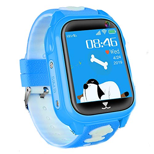 Kids Smart Watch Phone with GPS Tracker Free SIM Card 1.5'' Touch Screen IP68 Waterproof Two-Way Call SOS Voice Chat Camera Smartwatches for 4-12 Girls Boys Birthday Gift Compatible Android iOS (Blue) (Sim Free Iphone 5)