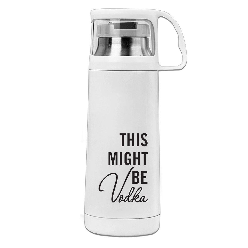 カレンガーデンThis Might Be Vodkaステンレススチール真空断熱ウォーターボトルリークプルーフHandledマグホワイト、12oz B07872SZRM