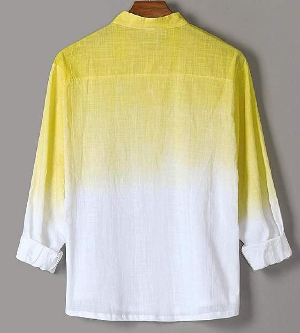 Domple Men Cotton Linen Gradient Color Long Sleeve Slim Fit Button Up Shirts