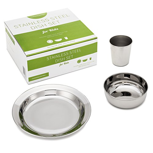 Stainless Steel Dish Set for Kids, with Plate, Bowl, and Cup - BPA Free - by HumanCentric by HumanCentric (Image #1)