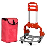 Trolley Dolly Shopping Grocery Cart Foldable Cloth bags Removable Lever Adjustable Level 4 Rolling Swivel Wheels High capacity Utility Cart , Red