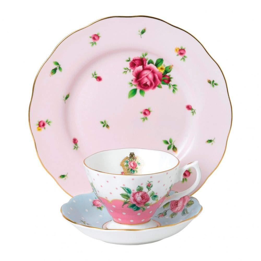 Royal Albert 40034975 Modern Vintage Collection Teapot, Cream, Sugar, 1.25 Liters, White, Pink