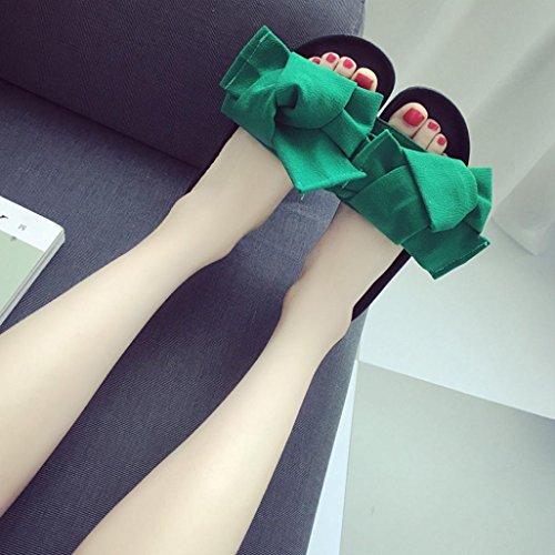 Transer® Damen Gemütlich Flach Slipper Baumwollstoff+Kunststoff Rot Grün Schwarz Rosa Hausschuhe mit Groß Bowknot Gr.35-40 Grün