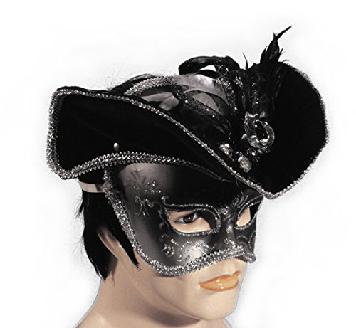 Loftus Venetian Pirate Half Mask W Hat Adult One Size - (Venetian Pirate Mask)