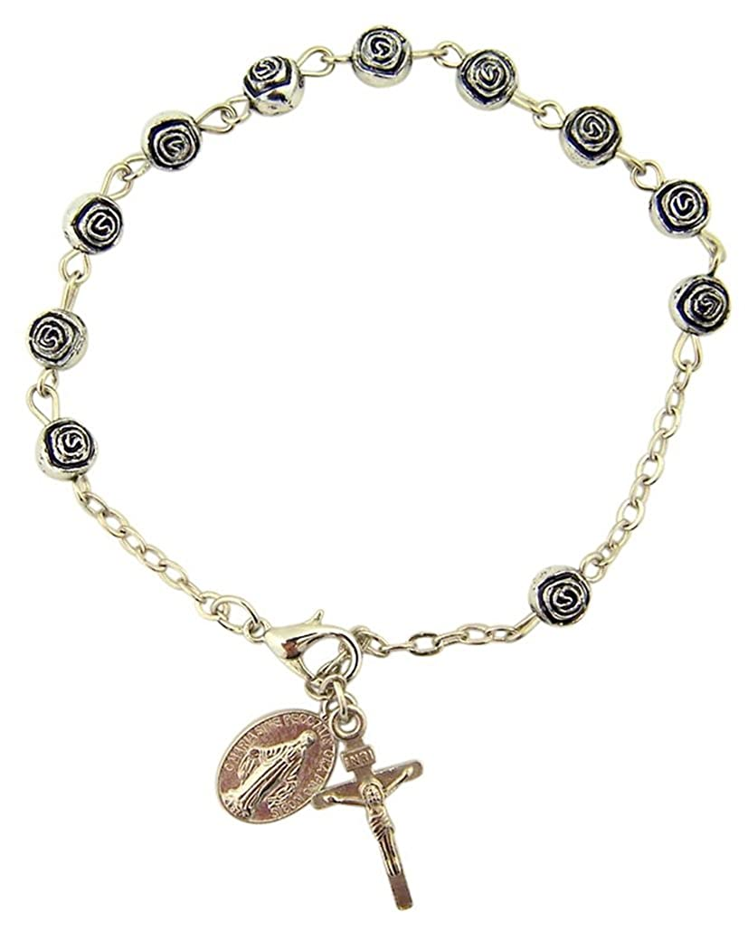 Womens or Girls, Religous & Inspirational Catholic Rosebud Rosary Bracelet, Antique Silver Plate 6 Mm Bead -- 7 3⁄4