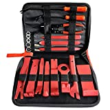 CNIKESIN 19Pcs Auto Trim Removal Tool Kit Panel Removal Tool Set Car Dash Audio Radio Door Plastic Fastener Remover Installer Pry Tool (red)
