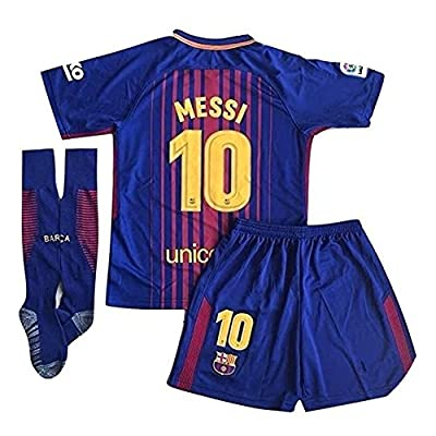 XIAOSHEN Brand 10# Messi Barcelona Home Kids Youth Soccer Jersey & Shorts & Socks Set 2018 Season Red/Blue