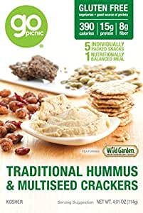 GoPicnic Ready-to-Eat Meals Traditional Hummus & Multiseed Crackers 4.01 oz boxes (Pack of 6)