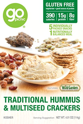 GoPicnic Ready-to-Eat Meals Traditional Hummus & Multiseed Crackers 4.01 oz boxes (Pack of 6) - Choc Spread