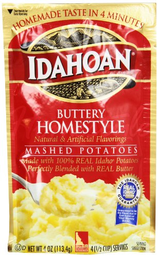 Idahoan Mashed Potatoes, Buttery Homestyle, 4 Ounce (Pack of 12)