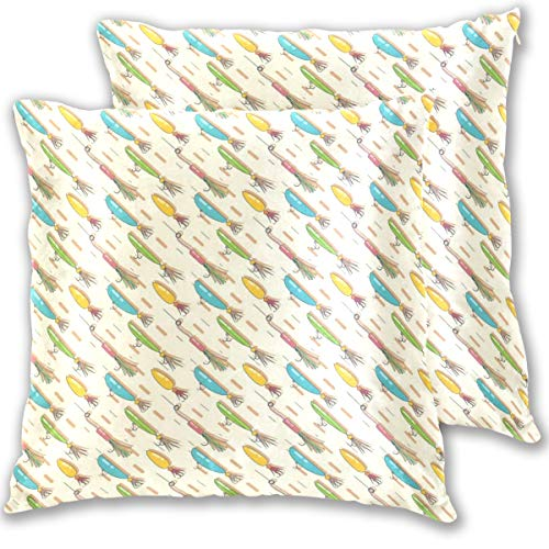 - Fish Hook Throw Pillow Cover, Cotton Square Home Decor Pillowcases for Sofa Bedroom Car, Set of 2 (18''x18'')
