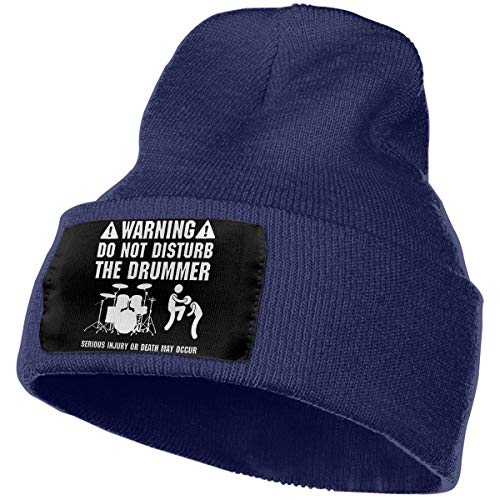 Eoinch Mens & Womens WARNING DO NOT DISTURB THE DRUMMER2 Skull Beanie Hats Winter Knitted Caps Soft Warm Ski Hat Navy