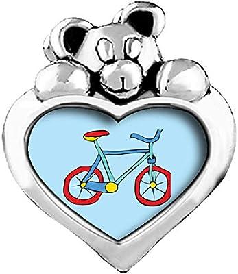 La bicicleta verde esmeralda de cristal lado te amo corazón cariñosito granos del encanto pulseras: Amazon.es: Hogar