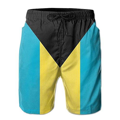 マークされた凶暴な主導権バハマの国旗 紳士のファッションと快適のビーチショーツ スイムショーツ メッシュインナー 通気 速乾 ビーチズボン 海水パンツ ショートパンツ
