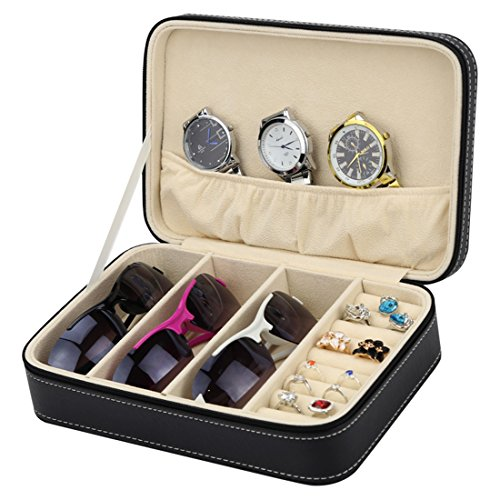 Homeater Sunglasses case Jewelry box Portable Travel Zipper Storage(Black)
