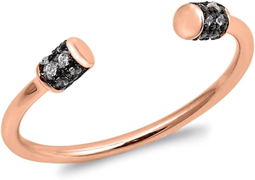 CloseoutWarehouse Clear Cubic Zirconia Adjustable Band Ring Rose Gold-Tone Sterling Silver