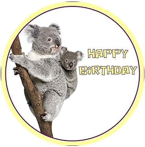 Magnificent Koala Happy Birthday Round 7 5 Cake Topper Edible Sugar Icing Funny Birthday Cards Online Hetedamsfinfo