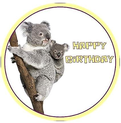 Koala Joyeux Anniversaire Rond 75 Décoration De Gâteau Glaçage