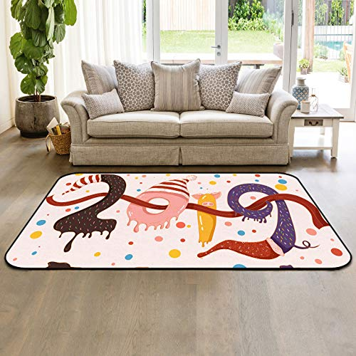Colorful Area Rug 4'x6' Non-Slip Rubber Backing Living Room Sofa Floor Carpets Indoor Throw Runner Rugs, Dessert Donuts Shaped 2019 Art Design (Best Budget Vacuum Cleaner 2019)