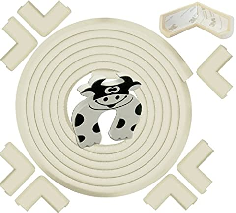 Edge & Corner Guard - 22.0ft [20.4ft Edging + 8 Pre-Taped Bumpers] - Extra Long – Cream White - Sharp Edge Furniture Protectors, Childproof Cushion Protection - Door Slammer Guard