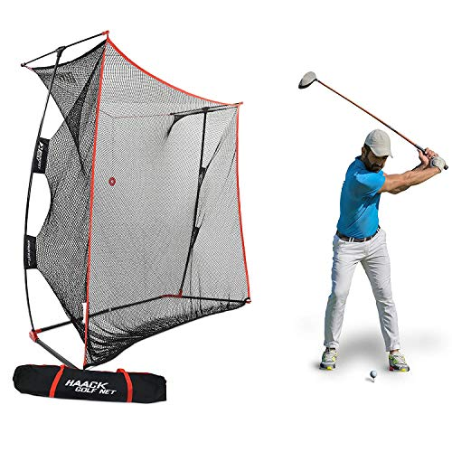 Rukket 9x7x3ft Haack Golf Net Pro | Practice Driving Indoor and Outdoor | Professional Golfing at Home Swing Training Aids | by SEC Coach Chris Haack (Haack Golf Net ()