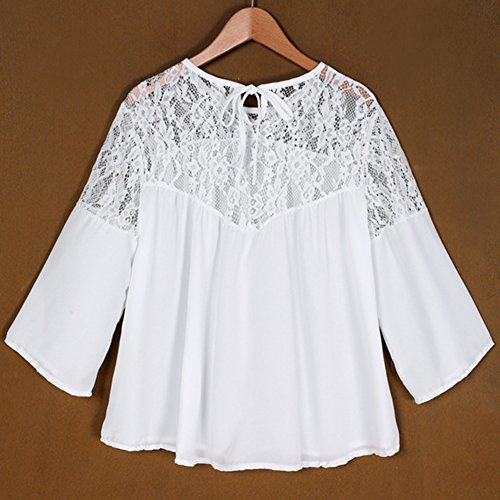 Mujeres Blusa de Gasa Con Manga Larga Camisa Blouses T Shirt Como Imagen