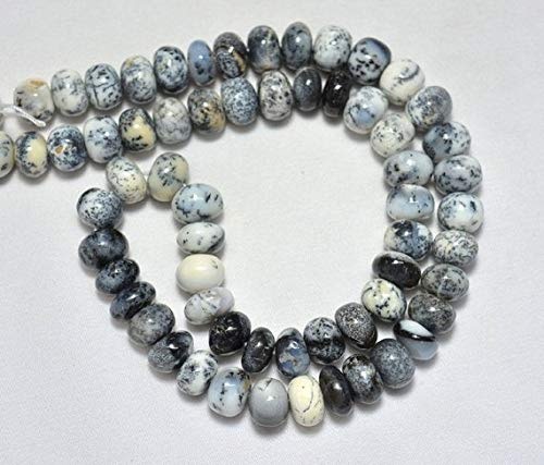 Opal Tourmaline Bracelet - 15 Piece of Dendrite Opal Beads, Dendrite Opal Gem Stone, 10mm Beads, Smooth Rondelle, Gemstone for Jewelry, by LadoNarayani