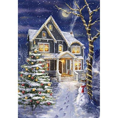 Vacally Diamond Painting,5D Modern Wall Art Decor Rhinestone Painting Cross Stitch Kit Santa Claus Snow House Home Decor (Multicolor ()